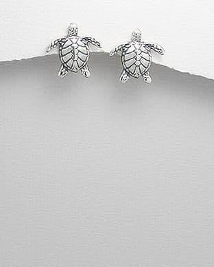 925 Sterling Silver Turtle Stud Earrings